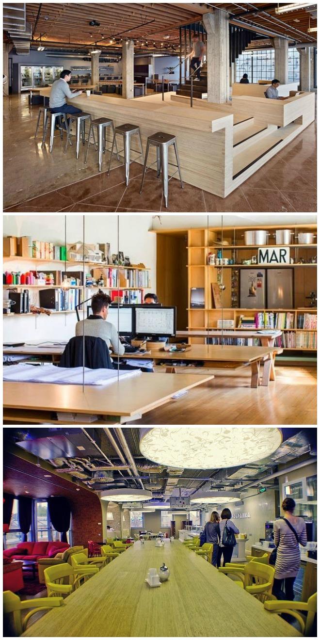 Drie voorbeelden van kantoren met een café-inrichting